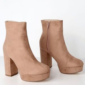 Camel Suede Ankle Booties